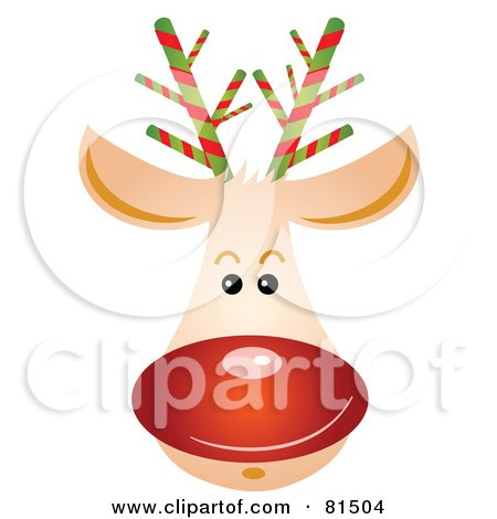 Royalty-Free (RF) Clipart Illustration of a Rudolph Reindeer Face With A Shiny Red Nose by OnFocusMedia
