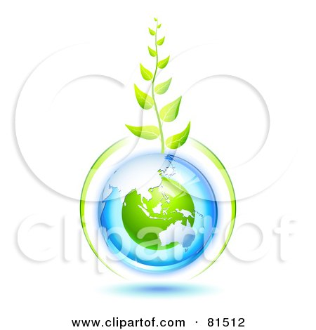 Royalty-Free (RF) Clipart Illustration of a Green Vine Growing From A Blue And Green Protected Australian Globe by Oligo