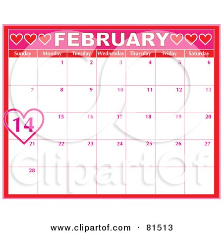 Royalty-Free (RF) Clipart Illustration of a Pink February Calendar With A Heart Circling Valentine's Day by Maria Bell
