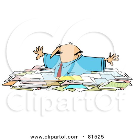 Royalty-Free (RF) Clipart Illustration of a Caucasian Businessman Wading Through Chest High Paperwork by djart