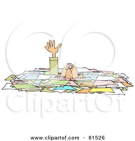 Royalty-Free (RF) Clipart Illustration of a Caucasian Businessman Reaching Up While Drowning In Paperwork by djart