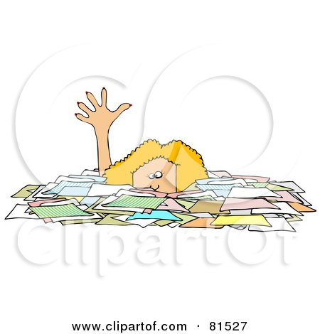 Royalty-Free (RF) Clipart Illustration of a Caucasian Businesswoman Reaching Up While Drowning In Paperwork by djart