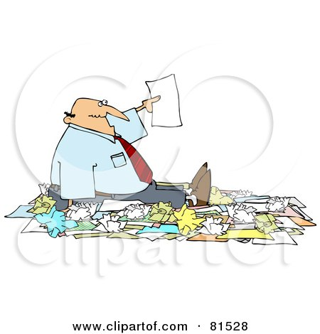 Royalty-Free (RF) Clipart Illustration of a Caucasian Businessman Holding Up A Page While Surrounded By Paperwork by djart