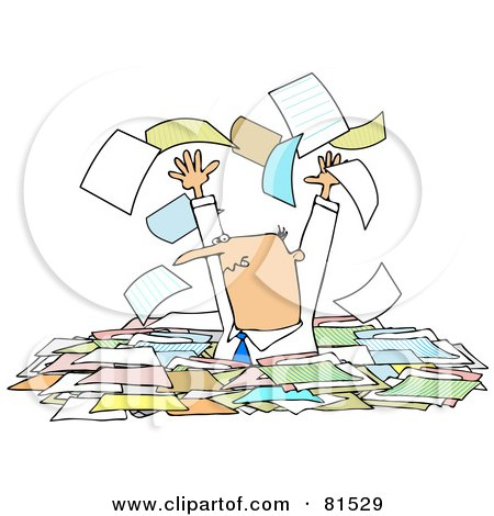 Royalty-Free (RF) Clipart Illustration of a Stressed Manager Standing Chest High In Paperwork, Tossing Pages Into The Air by djart