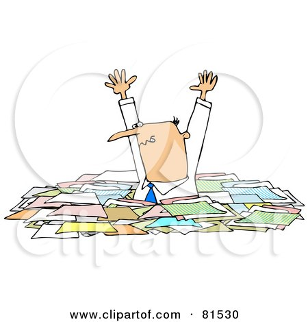 Royalty-Free (RF) Clipart Illustration of a Caucasian Businessman Holding His Arms Up And Standing In Chest High Paperwork by djart