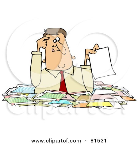 Royalty-Free (RF) Clipart Illustration of a Confused Caucasian Businessman Holding Up A Paper While Wading Chest High In Paperwork by djart