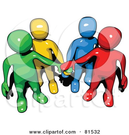 Royalty-Free (RF) Clipart Illustration of a Colorful People Forms With Piled Hands by 3poD