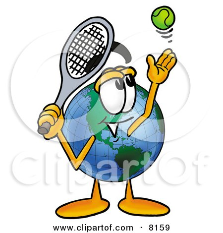Clipart Picture of a World Earth Globe Mascot Cartoon Character Preparing to Hit a Tennis Ball by Toons4Biz