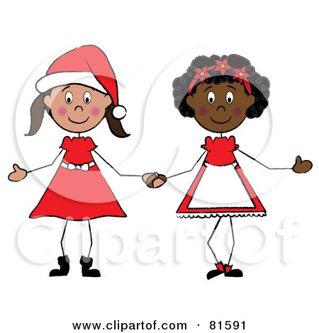Royalty-Free (RF) Clipart Illustration of Two Christmas Stick Girls Holding Hands by Pams Clipart