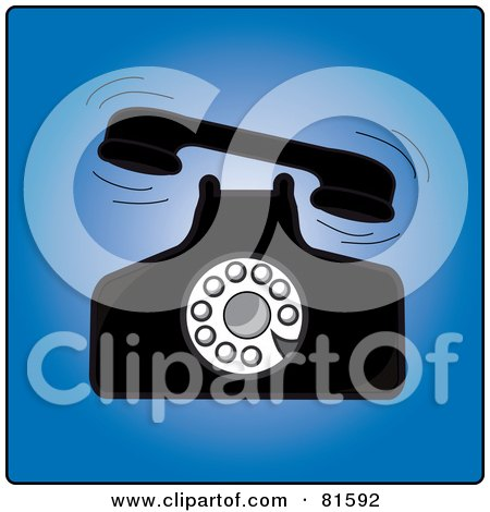 Royalty-Free (RF) Clipart Illustration of a Vintage Ringing Rotary Desk Telephone by Pams Clipart