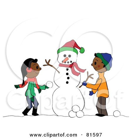 Royalty-Free (RF) Clipart Illustration of Two African American Children Creating A Snowman Together by Pams Clipart
