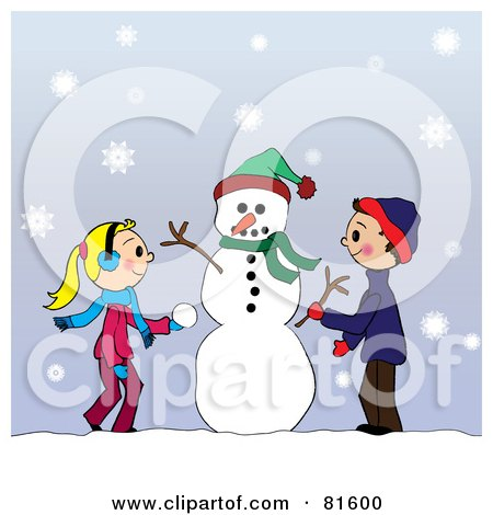 Royalty-Free (RF) Clipart Illustration of Two Caucasian Children Creating A Snowman Together In The Snow by Pams Clipart