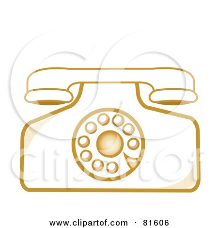 Royalty-Free (RF) Clipart Illustration of a Vintage Rotary Desk Telephone - Version 4 by Pams Clipart