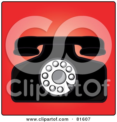 Royalty-Free (RF) Clipart Illustration of a Vintage Rotary Desk Telephone - Version 2 by Pams Clipart