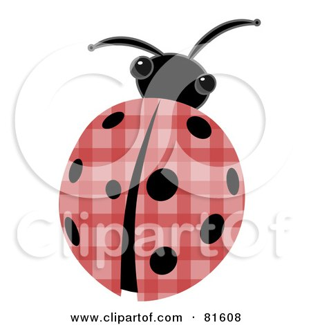 Royalty-Free (RF) Clipart Illustration of a Patchwork Ladybug With Black Spots by mheld