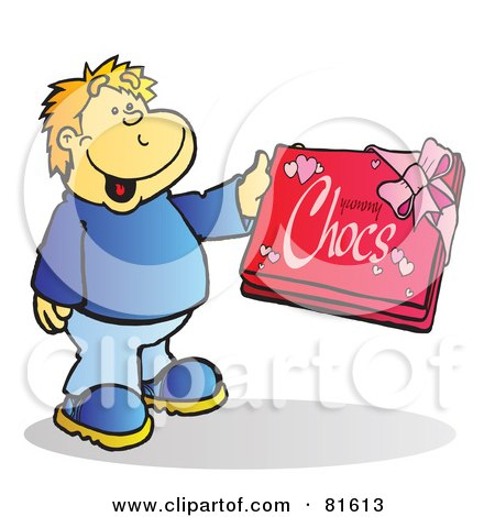 Royalty-Free (RF) Clipart Illustration of a Blond Boy Holding A Box Of Chocolates by Snowy