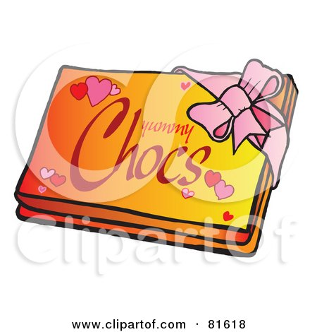 Royalty-Free (RF) Clipart Illustration of a Pink Ribbon Around A Box Of Valentines Day Chocolates by Snowy