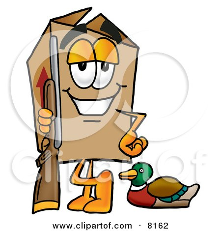 Clipart Picture of a Cardboard Box Mascot Cartoon Character Duck Hunting, Standing With a Rifle and Duck by Toons4Biz