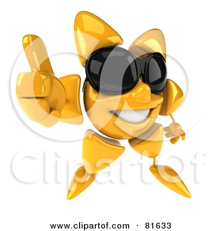 Royalty-Free (RF) Clipart Illustration of a 3d Sun Guy Wearing Shades, Giving The Thumbs Up by Julos