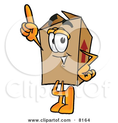 Clipart Picture of a Cardboard Box Mascot Cartoon Character Pointing Upwards by Toons4Biz