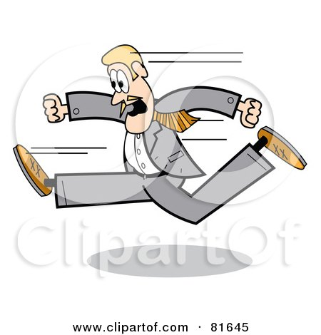 Royalty-Free (RF) Clipart Illustration of a Blond Business Guy In A Gray Suit, Running Left by Andy Nortnik