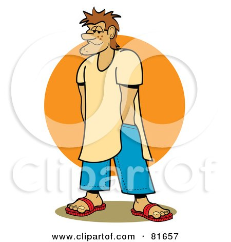 Royalty-Free (RF) Clipart Illustration of a Stubbly Beach Bum Man With His Hands In His Pockets, In Front Of The Sun by Andy Nortnik