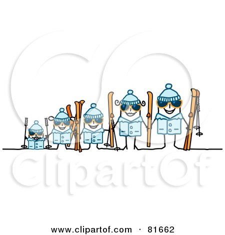 Royalty-Free (RF) Clipart Illustration of a Stick People Family In Ski Gear by NL shop