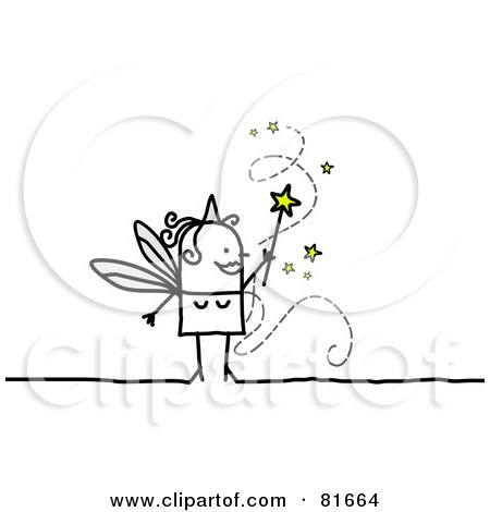 Royalty-Free (RF) Clipart Illustration of a Stick People Fairy Granting Wishes by NL shop