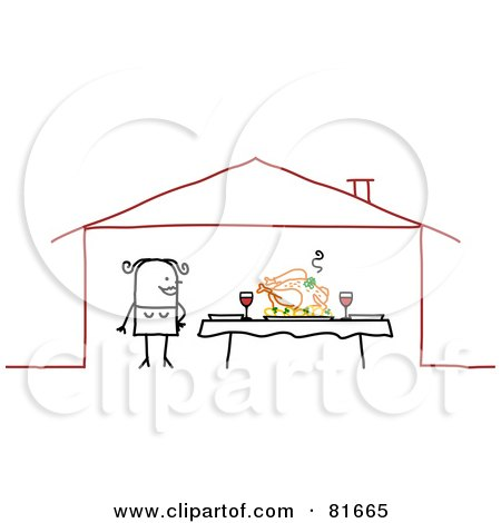Royalty-Free (RF) Clipart Illustration of a Stick People Woman Standing By A Feast On A Dinner Table by NL shop