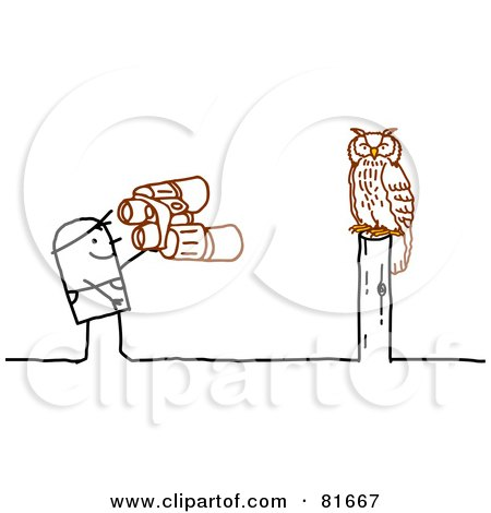 Royalty-Free (RF) Clipart Illustration of a Stick People Man Watching An Owl by NL shop