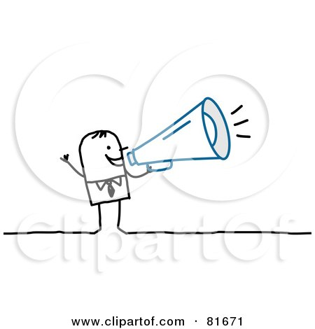 Royalty-Free (RF) Clipart Illustration of a Stick People Man Speaking Through A Megaphone by NL shop