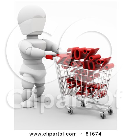Royalty-Free (RF) Clipart Illustration of a 3d White Character Pushing A Cart Full Of Sales by KJ Pargeter