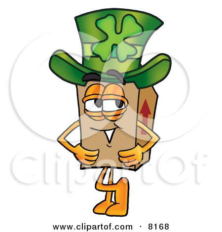 Clipart Picture of a Cardboard Box Mascot Cartoon Character Wearing a Saint Patricks Day Hat With a Clover on it by Toons4Biz