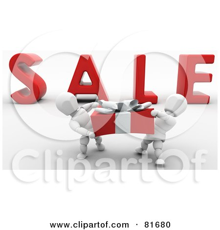 Royalty-Free (RF) Clipart Illustration of a Two 3d White Characters Carrying A Large Present In Front Of SALE by KJ Pargeter