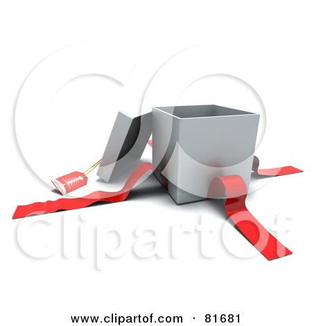 Royalty-Free (RF) Clipart Illustration of a 3d Open Silver Gift Box With A Red Tag And Ribbons by KJ Pargeter