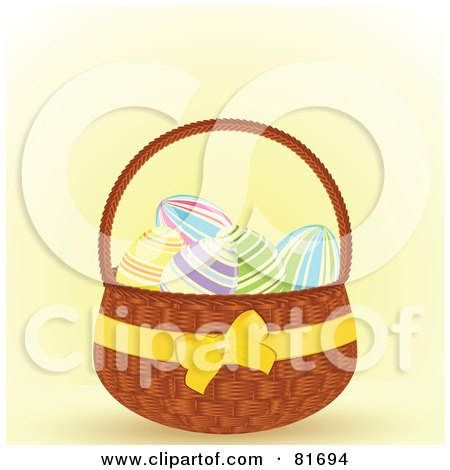 Royalty-Free (RF) Clipart Illustration of a Yellow Ribbon Around A Basket Of Easter Eggs by elaineitalia