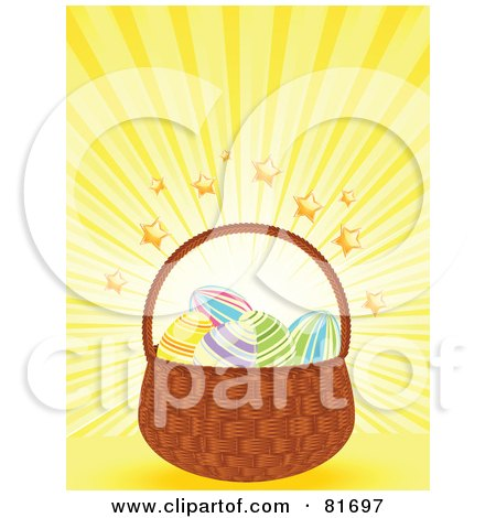 Royalty-Free (RF) Clipart Illustration of a Basket Of Easter Eggs On A Yellow Star Burst Background by elaineitalia