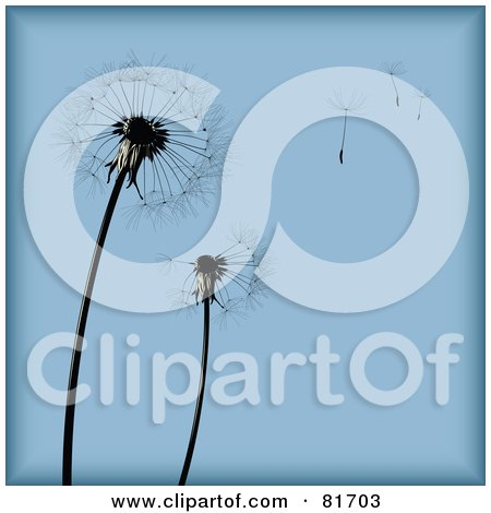 Royalty-Free (RF) Clipart Illustration of a Blue Dandelion Seed Head Background With Pieces Blowing Away by Anja Kaiser