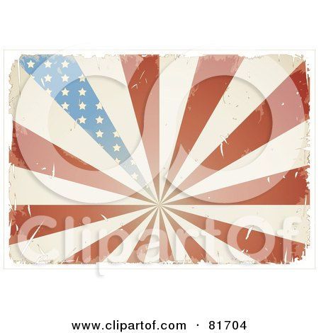 Royalty-Free (RF) Clipart Illustration of a Grungy Retro Antique American Flag Burst Background by Anja Kaiser