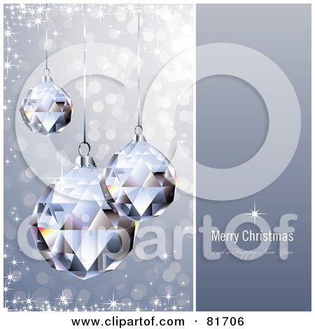 Royalty-Free (RF) Clipart Illustration of a Merry Christmas And A Happy New Year Greeting With Sparkling Crystal Christmas Ornaments by Anja Kaiser