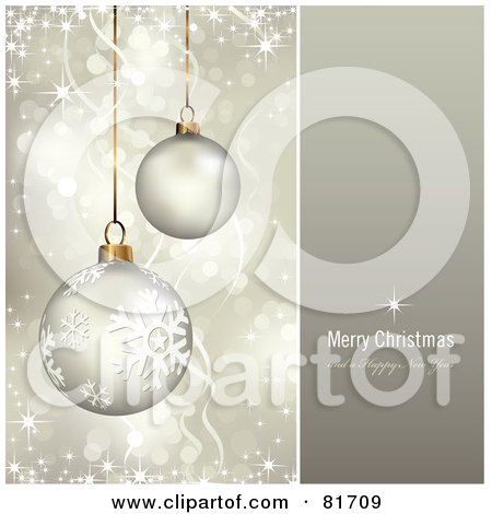 Royalty-Free (RF) Clipart Illustration of a Merry Christmas And A Happy New Year Greeting With Sparkling Gold Christmas Ornaments by Anja Kaiser