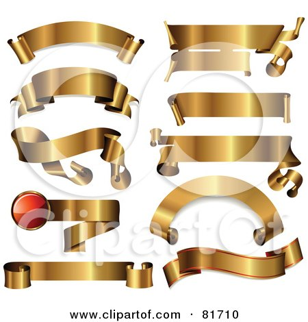 Royalty-Free (RF) Clipart Illustration of a Digital Collage Of Shiny Blank Golden Banners In Different Shapes by Anja Kaiser
