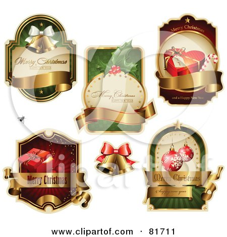 Royalty-Free (RF) Clipart Illustration of a Digital Collage Of Elegant Christmas Labels With Blank Banners by Anja Kaiser