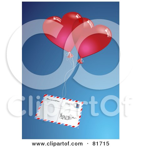 Royalty-Free (RF) Clipart Illustration of Red Air Mail Hearts Attached To An Envelope  by Anja Kaiser