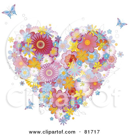 Royalty-Free (RF) Clipart Illustration of a Colorful Floral Heart And Butterflies by Anja Kaiser