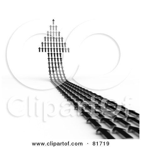 Royalty-Free (RF) Clipart Illustration of a 3d Arrow Made Of Tiny Arrows, Curving Upwards by stockillustrations