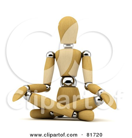 Royalty-Free (RF) Clipart Illustration of a 3d Wood Mannequin Sitting And Doing Yoga by stockillustrations