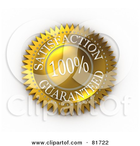 Royalty-Free (RF) Clipart Illustration of a Gold 100 Percent Satisfaction Guarantee Label Seal by stockillustrations