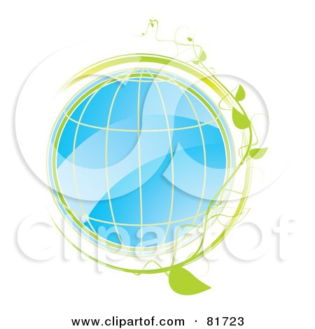 Royalty-Free (RF) Clipart Illustration of a Shiny Blue Globe With Grid Lines And A Green Vine by MilsiArt