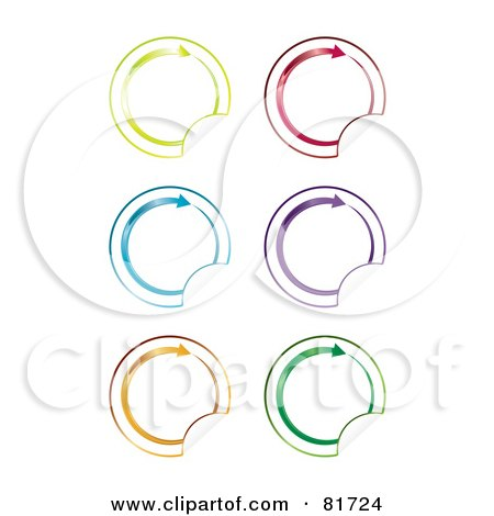 Royalty-Free (RF) Clipart Illustration of a Digital Collage Of Circular Colorful Arrow Peeling Stickers by MilsiArt